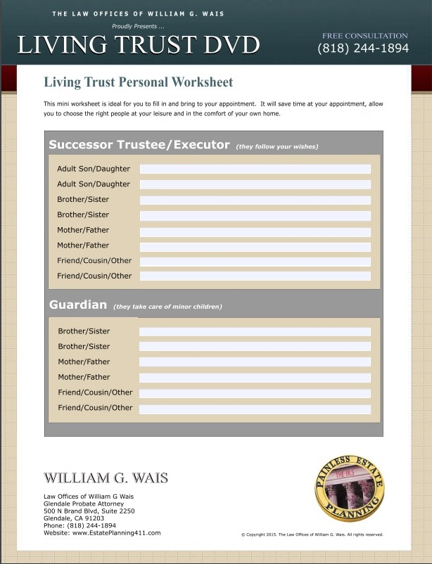Estate Planning Worksheets by California Trust Lawyer William G Wais – Estate Planning Worksheet